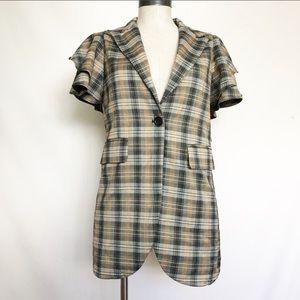 TOV short sleeve plaid blazer
